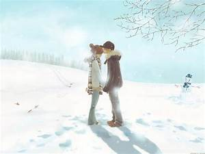 Merry Christmas Anime Cute Couple Love HD Wallpaper ...