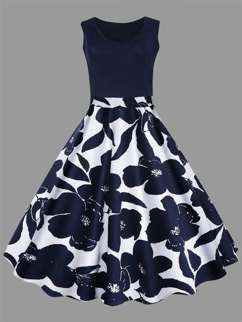 Dresses   Purplish Blue 5xl Floral Printed Midi Plus Size Vintage Flare Dress - Gamiss
