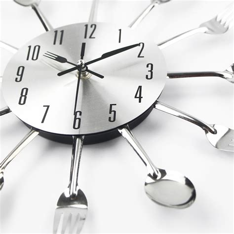 modern kitchen wall clock sliver cutlery clocks spoon