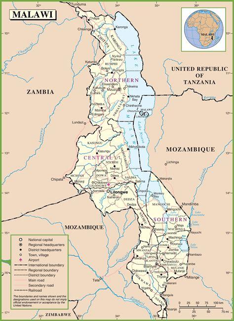 malawi karte provinzen