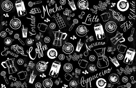 black  white coffee cup pattern wallpaper mural