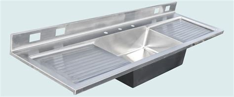handmade stainless sink with backsplash 2 drainboards by