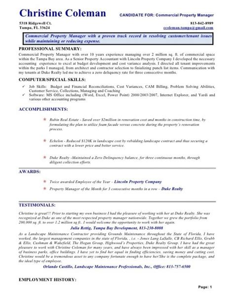 Exle Of Assistant Property Manager Resume by Assistant Property Manager Resume Template Resume Builder