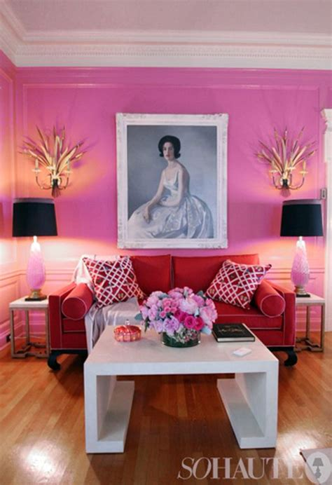 contemporary pink  red contrast interiors  color