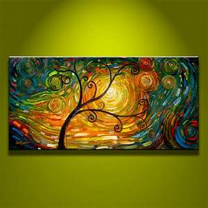 Modern Abstract Art Oil Painting on Canvas Tree Art