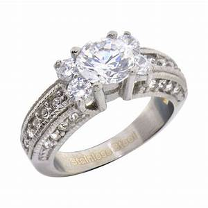 stainless steel round cubic zirconia women engagement With cz wedding rings for women