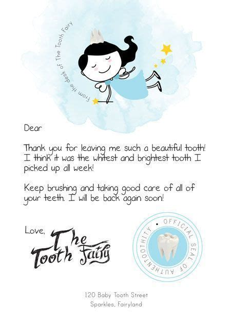 tooth fairy letter kids tooth fairy note tooth fairy