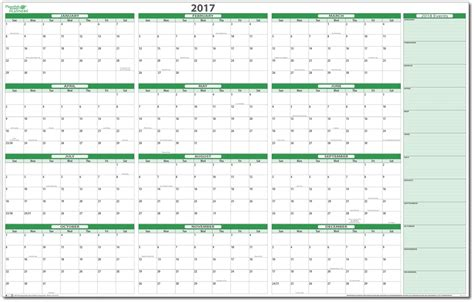 2017 Calendar Planner Yearly Calendar Printable