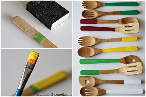 bamboo kitchen accessories diy painted wood spoons and chalkboard kitchen accessories 1461