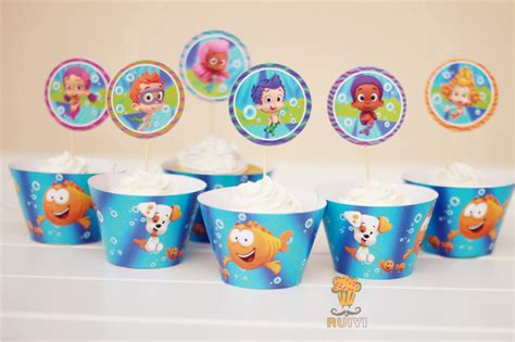free shipping 12 sets bubble guppies cupcake wrappers