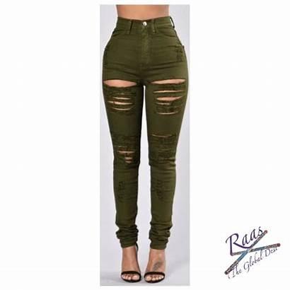 Jeans Slim Rips Ripped Waist Pure Indivar