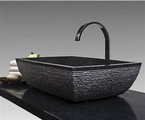 un lavabo noir pour la salle de bains elegante With salle de bain design avec lavabo noir salle de bain