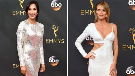 Padma Lakshmi Heidi Klum Emmys 2016 Sequin Dresses