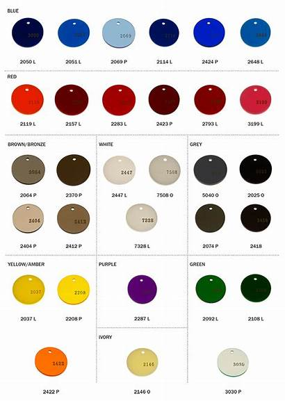 Acrylic Cast Colors Chart Reference Accurate Colored