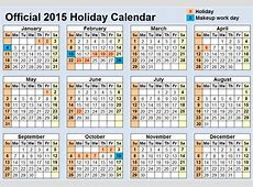 Official 2015 Holiday Schedule Released, Only One Heinous