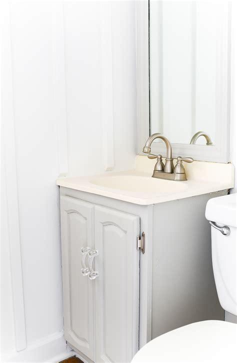 gray painted bathroom vanity   started  paint