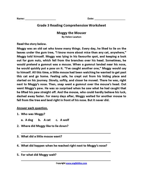 3rd grade reading comprehension printable worksheets for