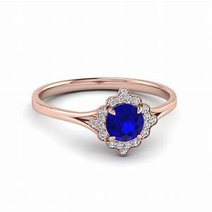 vintage halo sapphire engagement ring in 14k rose gold With wedding rings price range