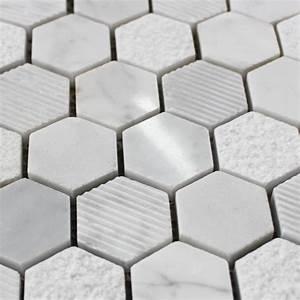 Carrelage Mosaique Pas Cher : mosa que marbre carrare hexagone blanc carrelage mosaique ~ Dailycaller-alerts.com Idées de Décoration