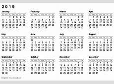 Calendar 2019 Printable rudycobynet