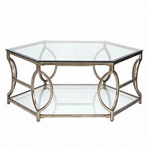 Brooke hexagon coffee table z gallerie for Hexagon coffee table glass