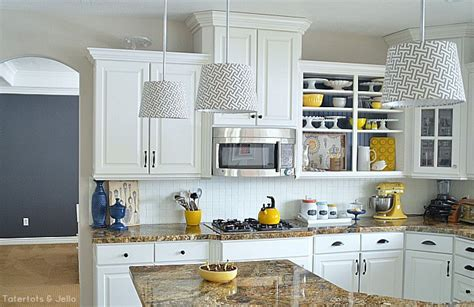 grey and yellow kitchen accessories create kitchen open shelves 6959