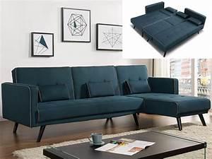 Canapé Scandinave Bleu : canap convertible tissu gris ou bleu canard calobra ~ Teatrodelosmanantiales.com Idées de Décoration