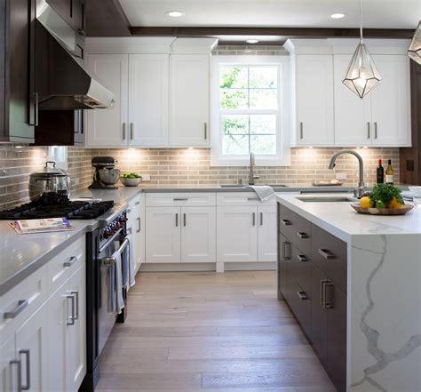 white shaker cabinets mixed  modern flat panel dark