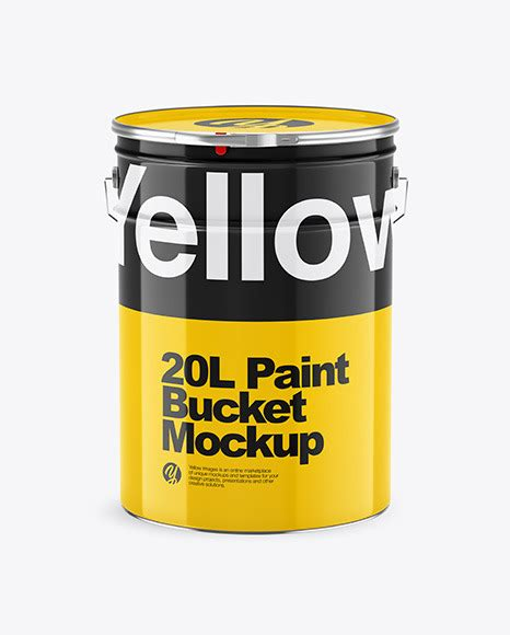This free mockup is for personal use only. 20L Glossy Paint Bucket Mockup | Exclusive Mockups