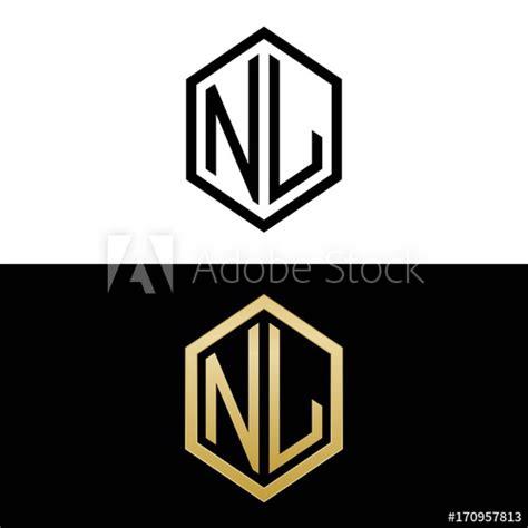 initial letters logo nl black  gold monogram hexagon shape vector buy  stock vector