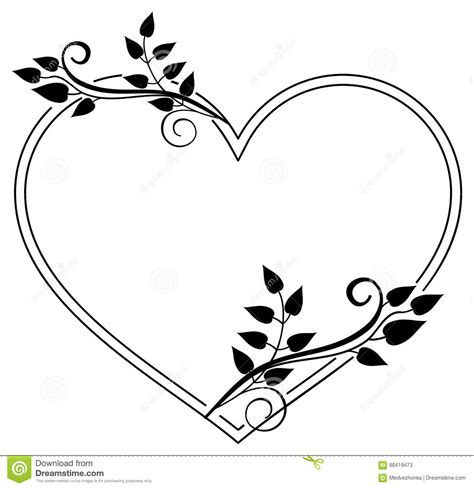 heart shaped black  white frame  floral silhouettes