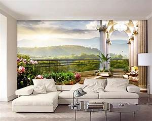 3d room wallpaper custom mural Out of the window, balcony ...