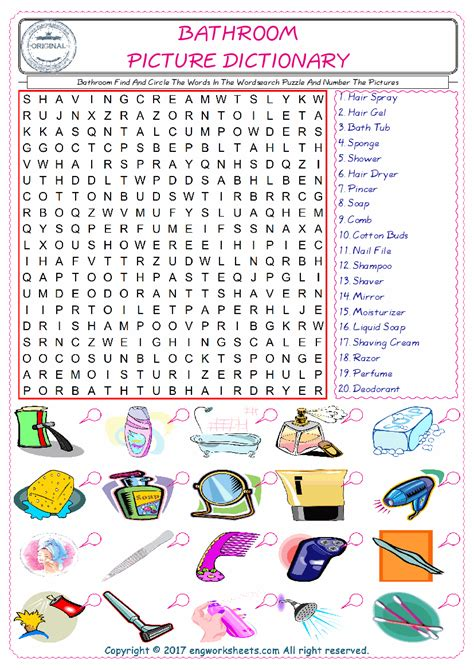 bathroom esl printable english vocabulary worksheets