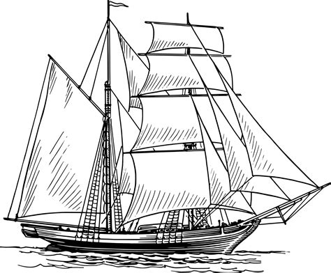 Boat Line Art by Historical Sailing Ships And Boats Coloring Pages Clip