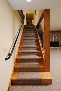 Before and After Lower Level Stairs Remodel - Traditional