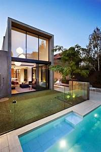 South Yarra Contemporary Urban House Design With Shape As A Simple Rectangular Box By An Organic