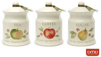 airtight kitchen canisters orchard fruits ceramic tea coffee sugar kitchen