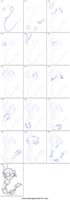 draw rayquaza  pokemon printable step  step