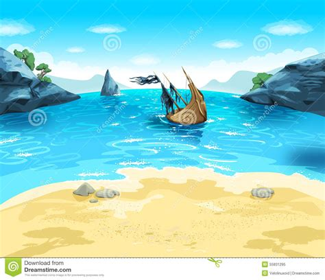 Boat On Beach Drawing by Draw Cartoon Sea Beach With Ship Stock Illustration
