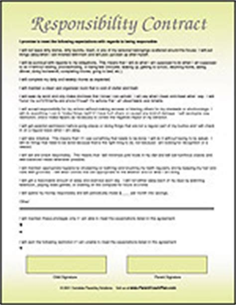 Responsibility Contract Template by Child Behavior Contracts Charts