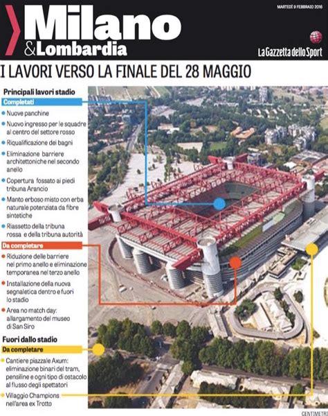 Mappa San Siro Ingressi San Siro Pronto Al 70 Per La Finale Di Chions