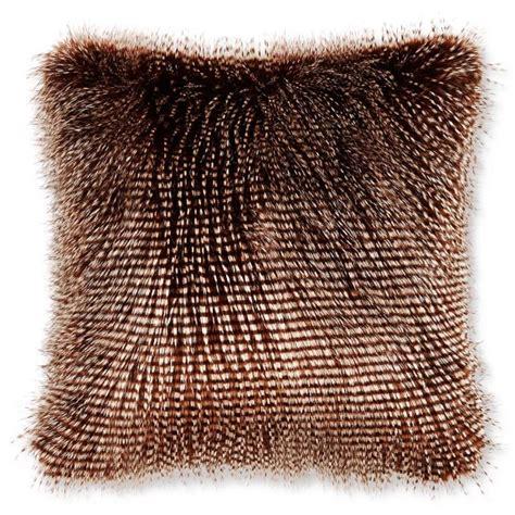 faux fur pillow faux fur pillow cover brown owl feather williams sonoma