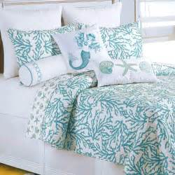 cora turquoise coral coastal quilt bedding