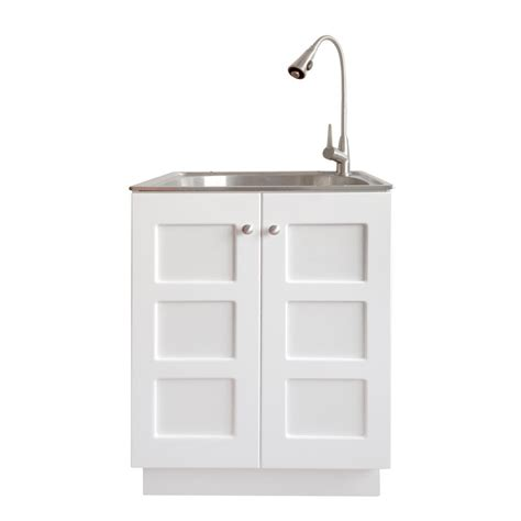 stainless steel utility sink with cabinet presenza all in one 24 2 in x 21 3 in x 33 8 in