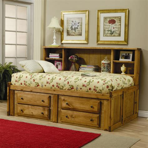 Solid Pine Twin Size Youth Bookcase Bed With Four Storage