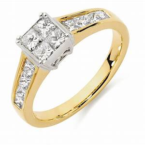 engagement ring with 1 carat tw of diamonds in 18ct yellow With 1 carat wedding rings