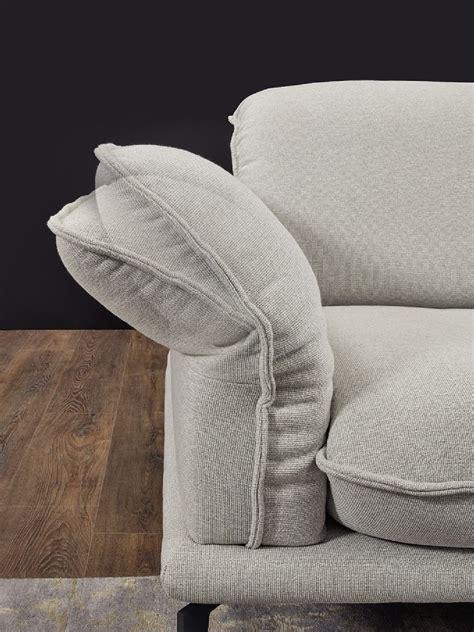 canapé cuir ou tissu canapé angle 4 places tissu gris clair contemplation tm