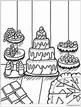 Coloring Desserts Table Pages Zentangle Printable Adults Cake Drawing sketch template
