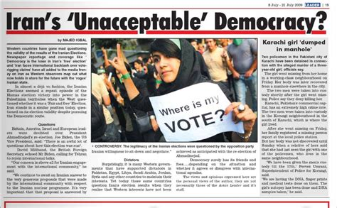 Asian Leader Newspaper Article- Irans 'unacceptable