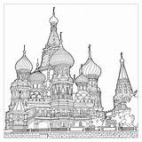 Coloring Cathedral Architecture Structures Moscow Pages Multiple Splendid Adult Vasily Fantastic Extraordinary Colors Bless sketch template